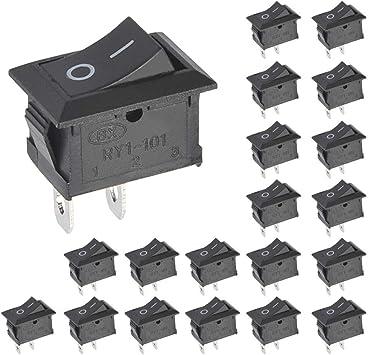 20PCS Boton Interruptor Rocker,Interruptor de Palanca de Encendido y Apagado,Forma de Barco Interruptor,KCD1-101 AC 6A//250V 10A//150V,Mini Interruptores Basculantes para Electrodom/ésticos