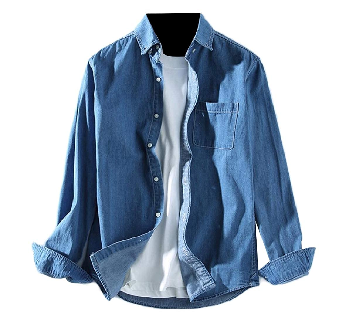 Coolred-Men Plus Size Button-Collar Loose Classic-Fit Denim Classic Shirt