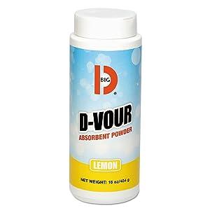 Big D BGD 166 16 oz Lemon Fragrance D-Vour Absorbent Powder