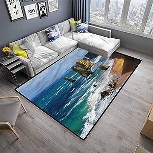 Rug Pad Coastal Non-Slip Doormat Carpet Panoramic Australia Scenery (4'x5')