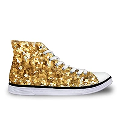 Dellukee Womens Men Canvas Sneakers High Top Lace Up Go Easy Walking Shoes  Small Sequins Golden de1453343
