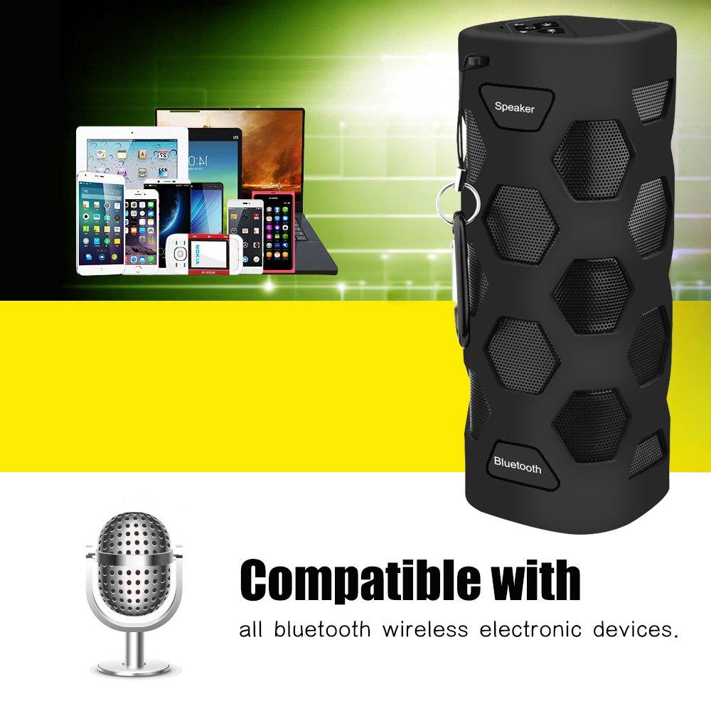 LOBKIN Bluetooth Tragbare Lautsprecher Wasserdicht Speaker Stoßfest Boxen Wireless Stereo Boombox mit eingebautem Mikrofon Kabelloser Musikbox mit 8-Stunden Spielzeit und TF Karte (Dunkles Schwarz)