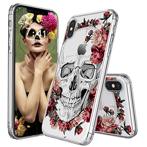 MOSNOVO Case for iPhone XS/iPhone X, MOSNOVO Cool Floral Skull Flower Clear Design Printed Transparent Slim Plastic Hard Back Cover with TPU Bumper Protective Case Cover for iPhone X/iPhone (Skull Design Cover Case)