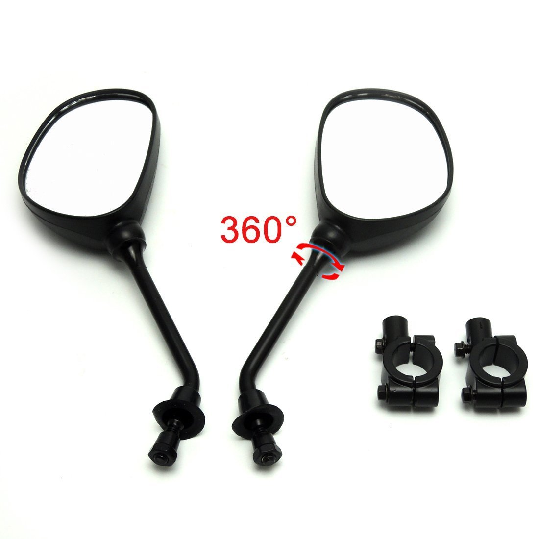 OKSTNO 360 Degree Rotation Rearview Mirror Bracket Holder Clamp w// 7//8 Handlebar Mount 8mm Adaptor for Polaris line of ATVs Dirt Motor Bike Cruiser Chopper