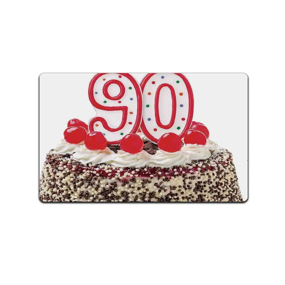 YOLIYANA 90th Birthday Decorations Durable Doormat,Birthday Cake with Cherries Burning Candles Number Ninety for Bed Room,31'' Lx19 W