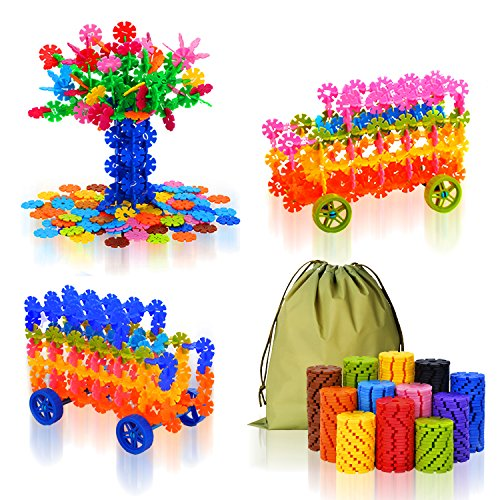 QuadPro Brain Flakes 570 Piece with 4 Set Wheels Plastic Discs Snowflake Building Blocks Set Kids Preschool Toys Educational Stem Toys for Boy and (Brain Building)