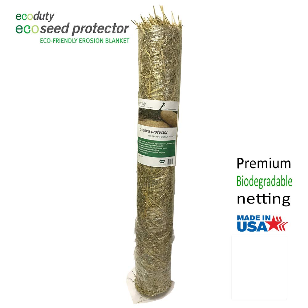 Ecoseed Protector 4' by 50' Contractor Grade Grass Seed Germination Erosion Control Blanket for Homeowners and Professional Contractors (1 ct.) by Ecoduty