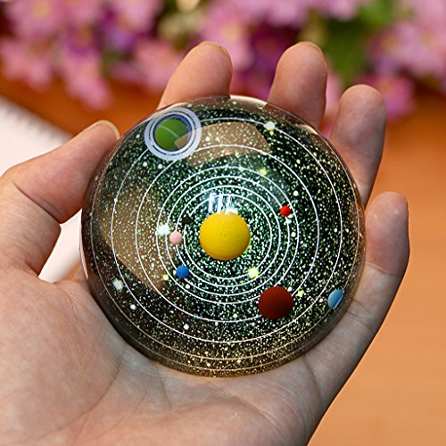 OwnMy Solar System Ball 3 Inch Half Crystal Glass Ball Sphere Decorative Art Paperweight - Best Gift and Home Decor