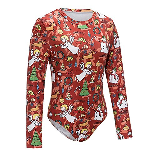 Christmas Bodysuit (YOLI Women's Christmas Printed Long Sleeve Stretchy Bodysuit Bodycon Leotard Rompers Jumpsuits Tops)