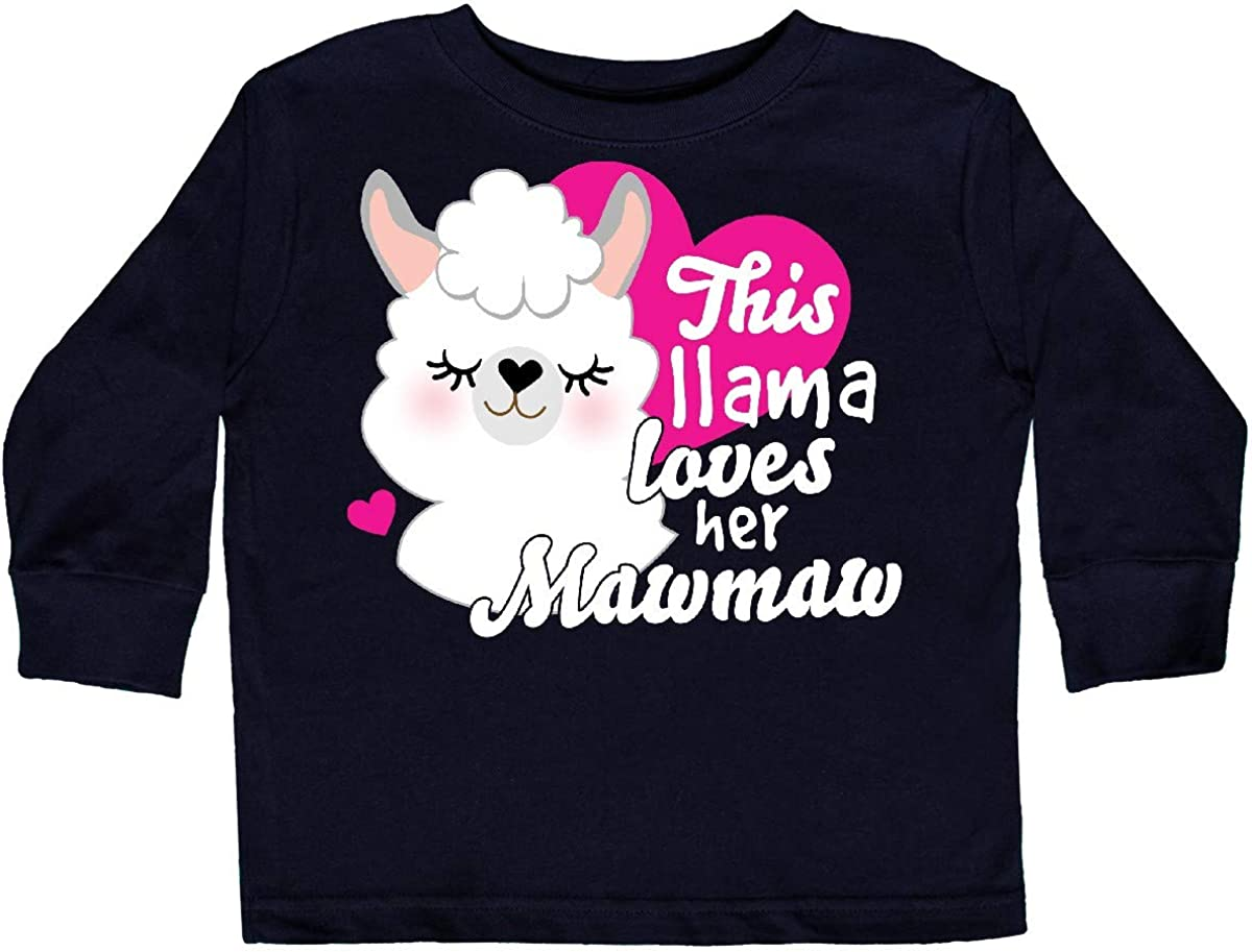 inktastic Valentines Day This Llama Loves Her Mawmaw Toddler Long Sleeve T-Shirt