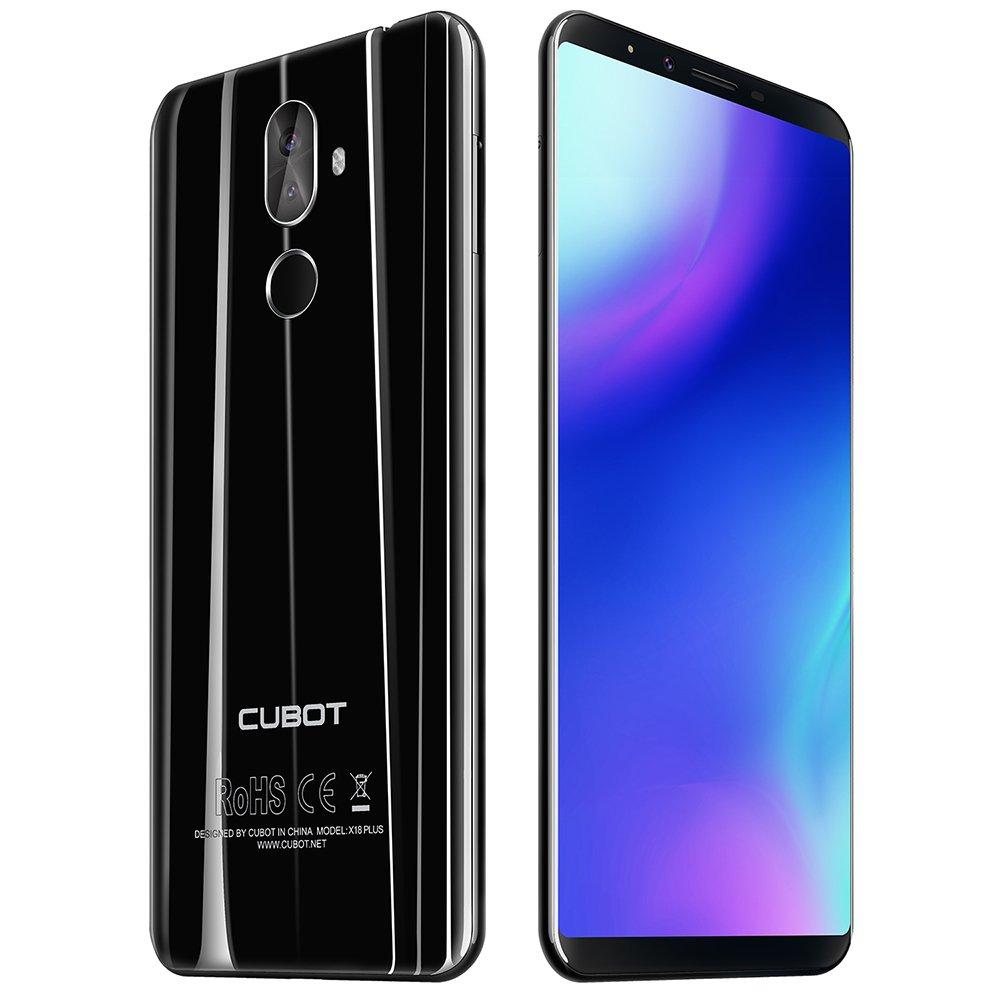 CUBOT X18 Plus - 4G Smartphone 5.99 Pulgadas Android 8.0 MTK6750T 1.5GHz Octa Core 4GB RAM 64GB ROM 4000mAh Batería 20.0MP + 2.0MP Cámaras Duales Traseras Reconocimiento de Huellas Digitales - Negro