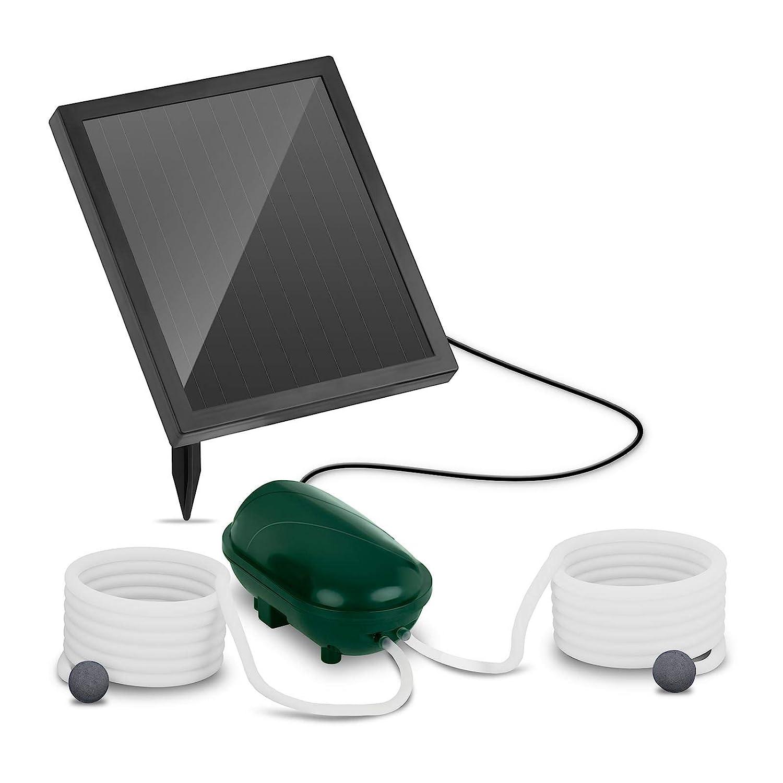 Uniprodo Pompe /À Air pour Bassin A/érateur Solaire UNI/_Pump/_03 2 Pierres DOxyg/énation, 200 l//h dair, Port/ée De 5 m, Module Photovolta/ïque 1,4 W, Batterie