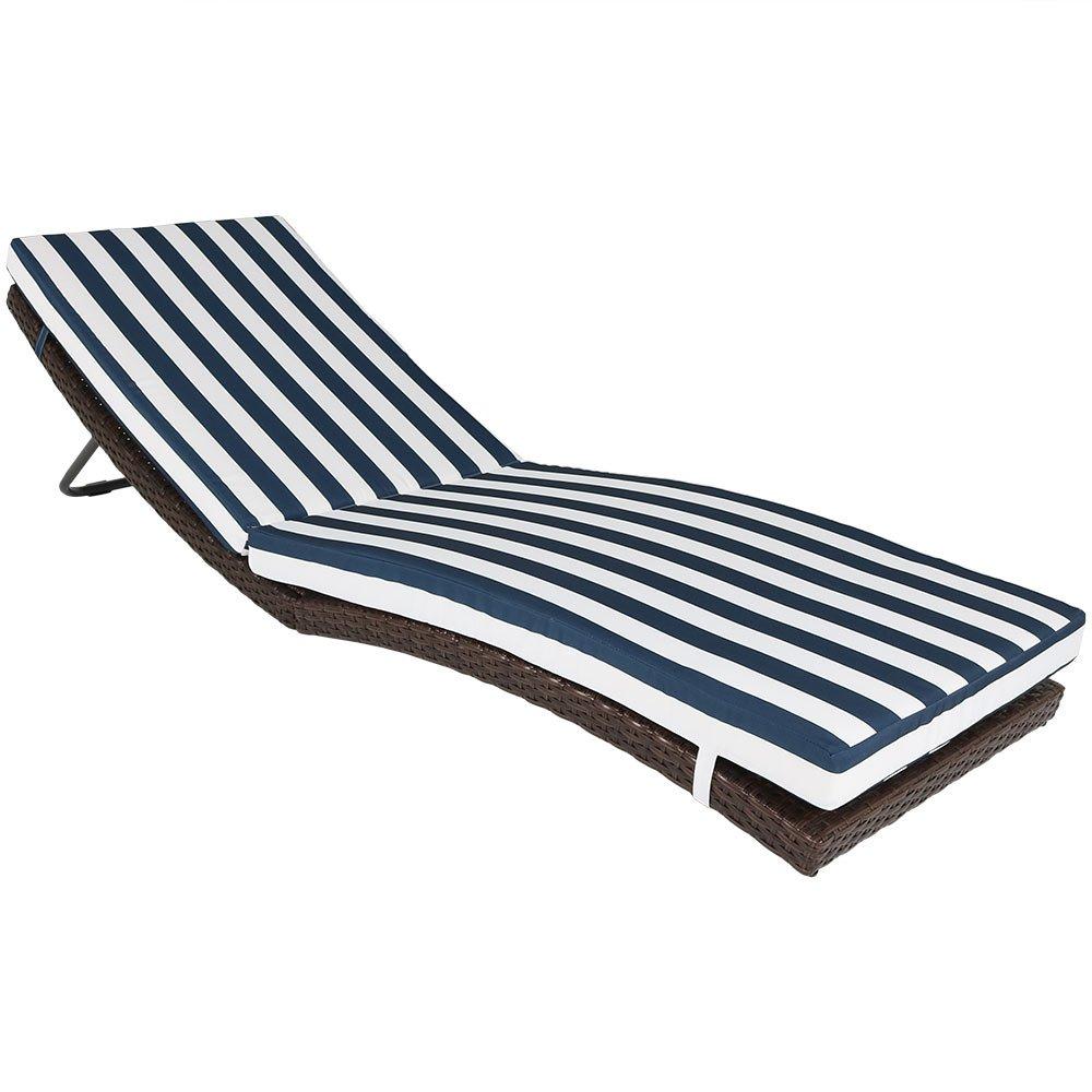 Sunnydaze Maui Outdoor Wicker Rattan Folding Sun Lounger with Blue Stripes