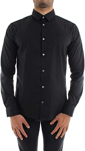 Emporio Armani Hombres Slim Fit Camisa Stretch Negro XL: Amazon.es: Zapatos y complementos