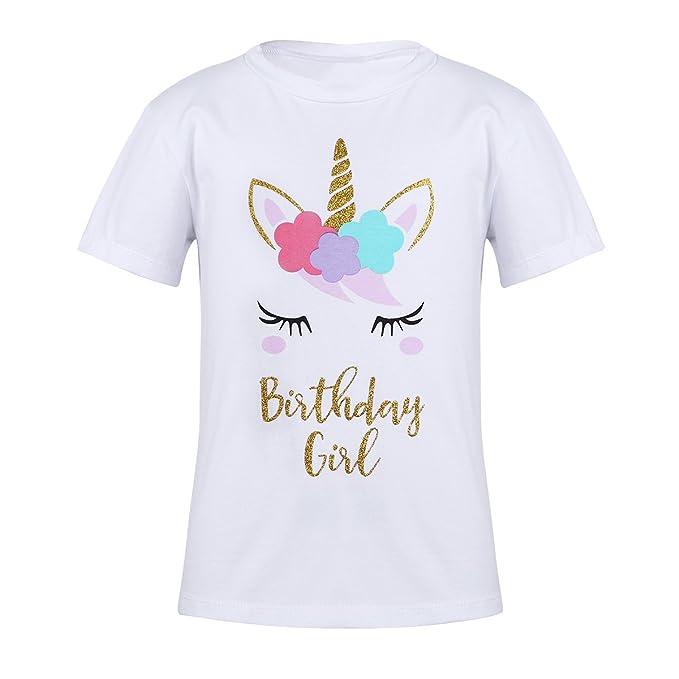 Freebily Camiseta Niña Blanca Manga Corta Camiseta de Unicornio de Cumpleaños para Niñas: Amazon.es: Ropa y accesorios
