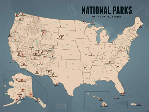 Us National Parks Map 18x24 Poster Tan Juniper By Best Maps