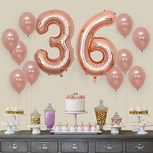 2 Globos Número 36 Años, Number 36 Globo Chica de oro rosa ...