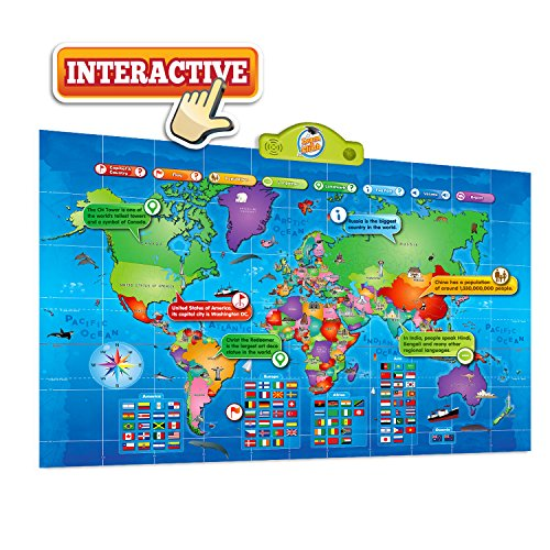 (Kids Interactive Talking World Map Touch Activated Geography for Kids, Push-to-Talk Map Learn Over 1000 Facts and Quizzes About 92 Countries World Map Puzzle Game, Fun & Educational)