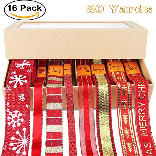 Fabric Ribbon Set,Chrismas Holiday Fabric Ribbon for Christmas, Holiday,Gift Package Wrapping ,Hair Bow Clips 1.5,1inch 80yd(8x10 Yards), Christmas Tree Costume - Red 1'x55 Yards