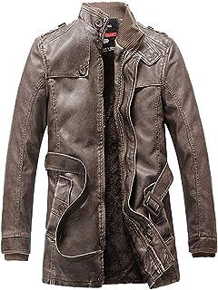 FuweiEncore Männer Vintage PU Moto Biker Jacke Parka Slim Fit Langarm-Mantel (Farbe : Braun, Größe : Small)