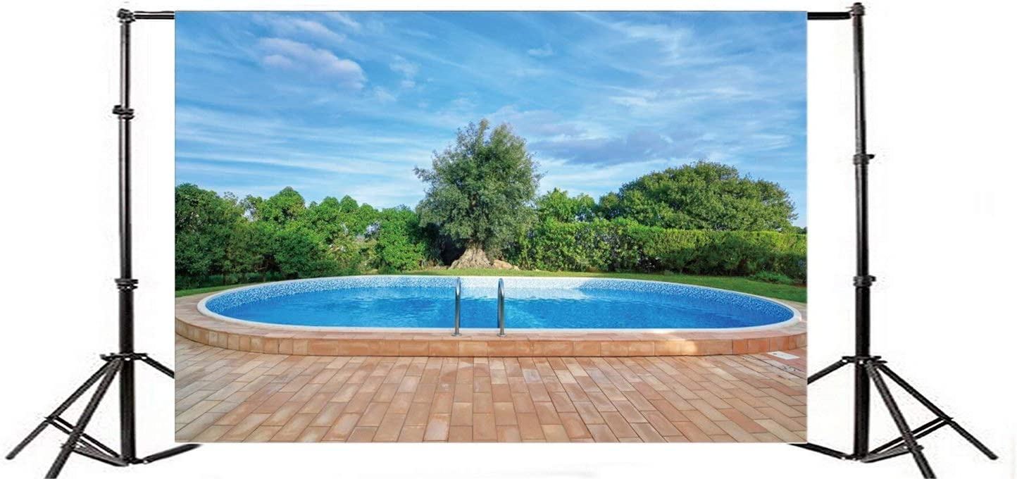 GoEoo Lovely Swimming Pool Photography Background 7x5ft Garden Park Green Nature Landscape Blue Sky Holiday Vacation Villa Backyard Bathe Garden Hot Hotel Leisure Lifestyle Summer Backdrops
