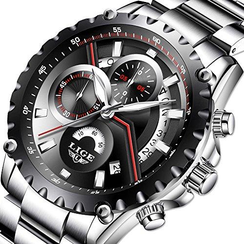 Men's Fashion Watch Sport Watch Quartz Watch Mens Watches Luxury Full Steel Business Waterproof Watch (Steel Watch Sport Quartz)