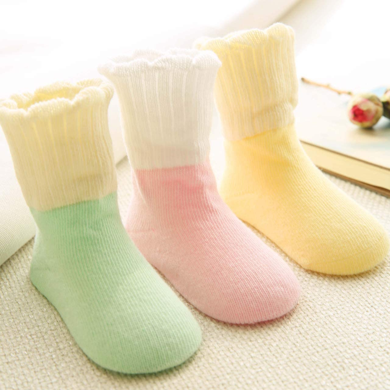 3 Pair Baby Socks Unisex Soft 0-5 Elastic Newborn Socks Organic Cotton Warm Cute Colorful Breathable Anti-Static Anti-Sensitive Socks Set for Baby Girl Boy Gift for Infant Toddler Baby Years
