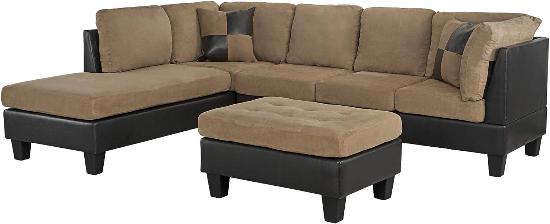 "Casa AndreaMilano 3-Piece Microfiber and Faux Leather Sofa and Ottoman Set, 102"" W, Mocha"
