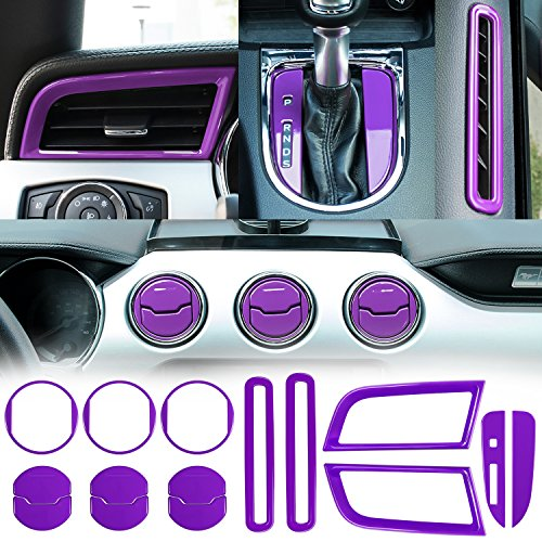 (Danti Car Interior Accessories Decoration Console Central & Car Door & Dash Board Side Air Conditioner Outlet Vent, Shift Gear Box Switch Button Cover Trim For 2015-2019 Ford Mustang (Purple))