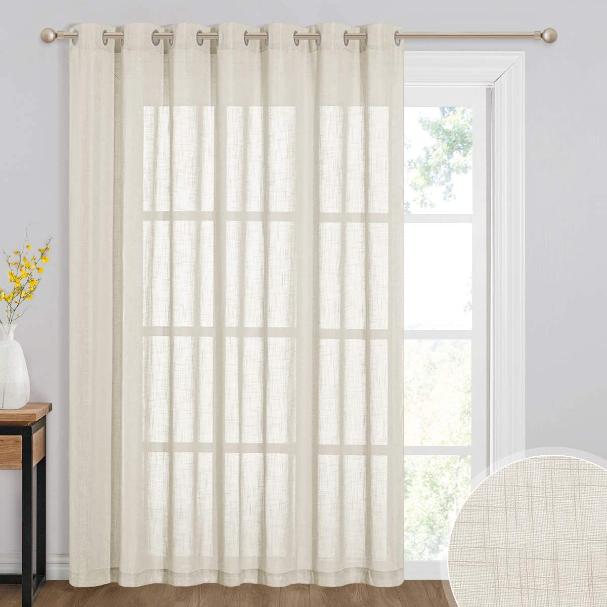 RYB HOME Sheer White Curtains - Natural Linen Semi Sheer Curtains Grommet Privacy Protection for Bedroom Living Room Large Window Decor, 100 x 108 inch Long, Warm Beige