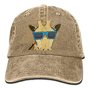 Safan532 Unisex Giraffe With Sunglasses Art Summer Fashion Cotton Baseball Cap Adjustable Trucker Hats For Outdoor Sport