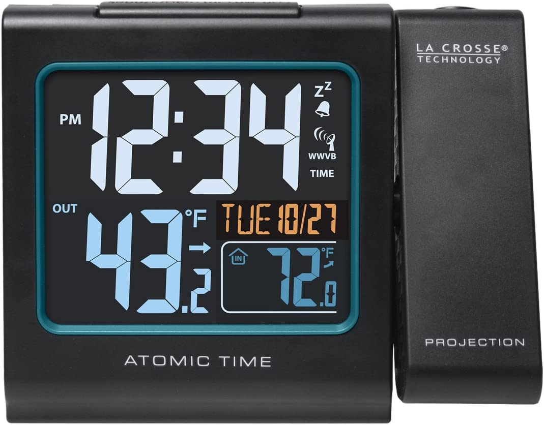 La Crosse Technology616-146 Color Projection Alarm Clock with Outdoor temperature & Charging USB port
