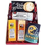 Wisconsin's Best & Wisconsin Cheese Company Specialty Green Bay Packers Gift Basket-Smoked Summer Sausages,Wisconsin Cheeses, Crackers & Packer Coozie