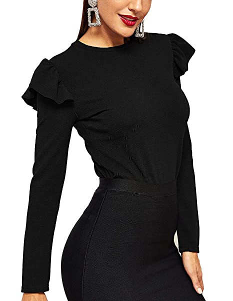 1acd7de74d52f3 Romwe Women s Plain Long Sleeve Ruffle Trim Elegant Work Blouse Top Black XS