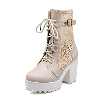 Ladies Bandage Hollow Out Leopard Pattern Chunky Heels Beige Imitated Leather Boots - 10 B(M) US