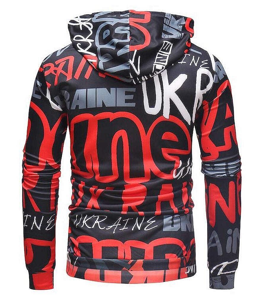 XTX Men Relaxed Fit Letters Printed Casual Long Sleeve Pullover Hoodie Sweatshirt