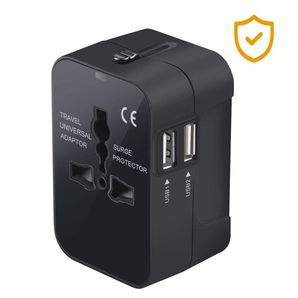 Adattatore da Viaggio Universale, Hovast Adattatore Presa Spina con 2 USB Adattatore All-in-one Caricatore, Alimentazione Caricatore Africane/europee/americane Adatto per più di paesi (1pcs)