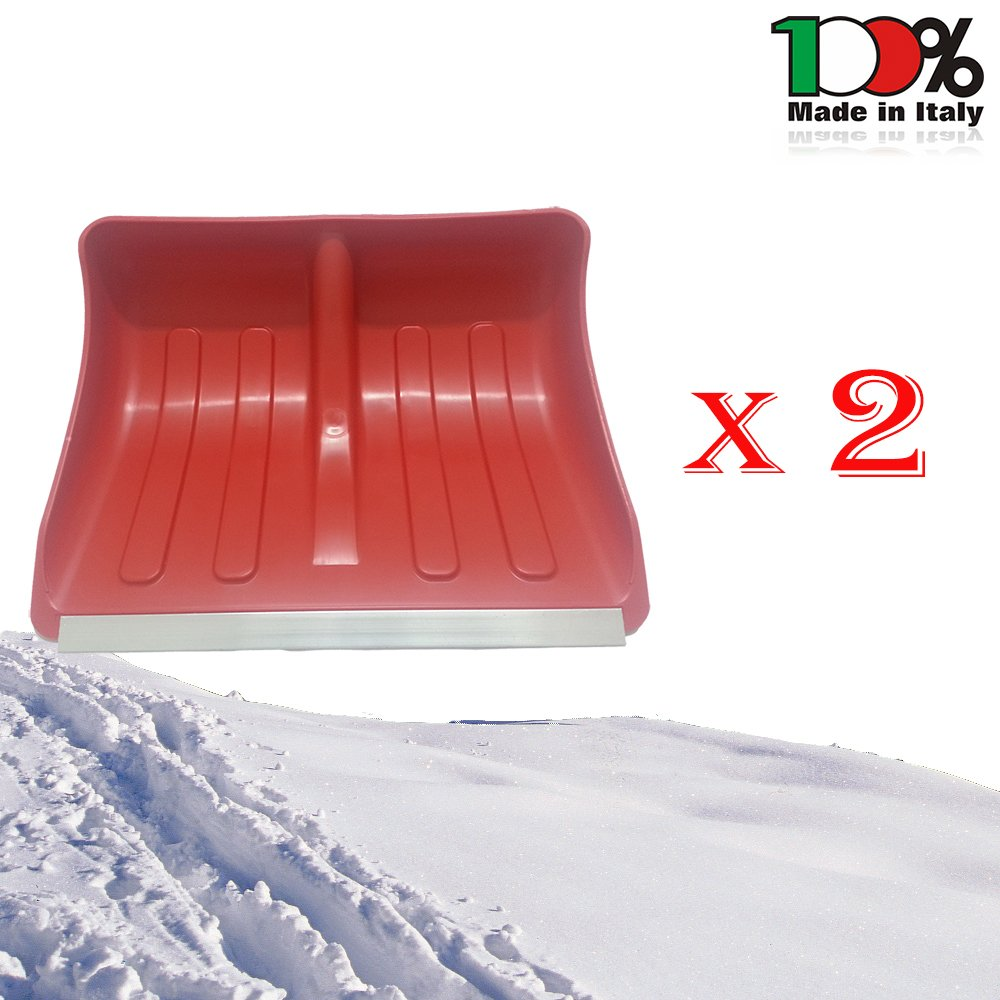 Mistermoby Spingineve Pala da Neve in Plastica Larga 50 Centimetri Profilo Alluminio Rinforzata Senza Manico Qualità Italiana 2 Pezzi