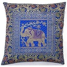 BEAUTIFUL Square Silk Home Decor Cushion Cover, Indian Silk Brocade Pillow Cover , Handmade Banarsi Pillow Cover 16 X 16 Inch