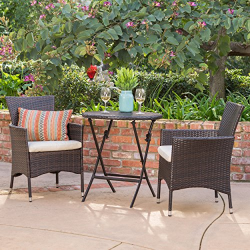 Dorchester | 3 Piece Wicker Outdoor Bistro Set w/Beige Cushions | in Multibrown