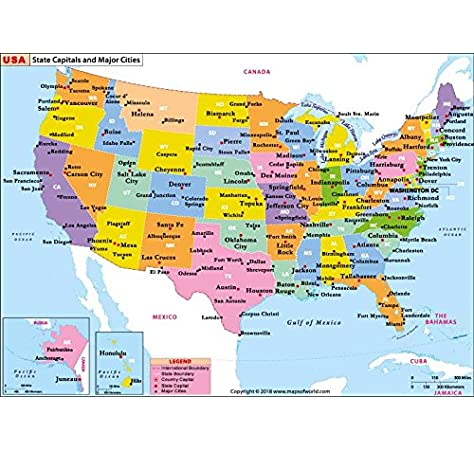 united states map with capitals and abbreviations Amazon Com Us State Capitals And Major Cities Map 36 W X 26 12