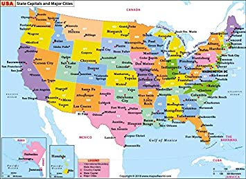 Amazon.com : US State Capitals and Major Cities Map (36\