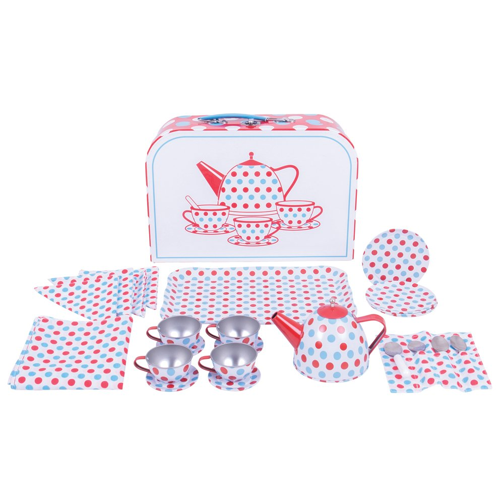 Bigjigs Toys Polka Dot Tin Tea Set with Carrying Case - Playsets for Children