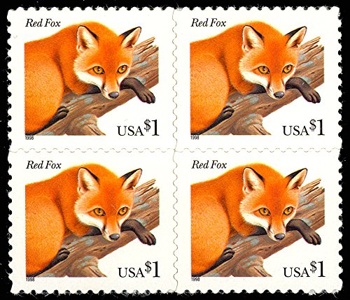 (Red Fox Mint Block of 4 $1 Postage Stamps Scott 3036)