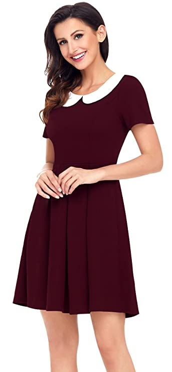 f156b6f949a Aixy Womens Retro Short Sleeve Swing Dresses Peter Pan Collar Skater Dress  Wine Red  Amazon.co.uk  Clothing