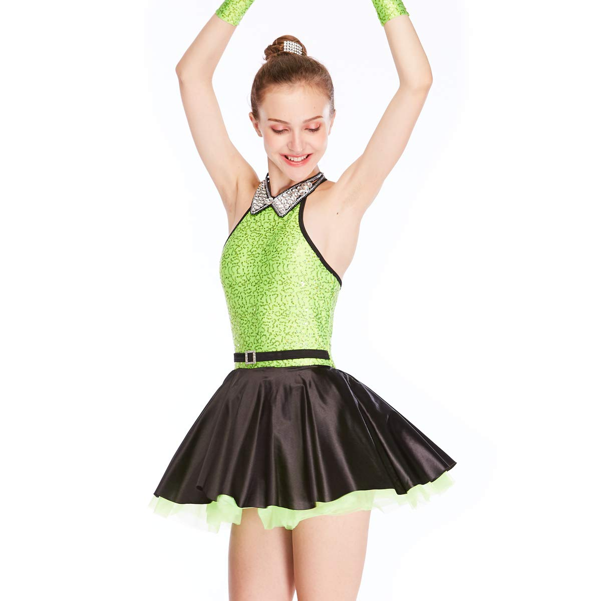 MiDee Jazz Dress Dance Costume High Neck with Sparkle Austria Rhinestones Collar (LA, AppleGreen) by MiDee