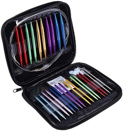 FTVOGUE 1 Unidades 13 Tamaños Aleación de Aluminio Circular DIY Agujas de Tejer Kit de Herramientas 2.75mm-10mm con Estuche Rosa para DIY Art Knitting: Amazon.es: Hogar