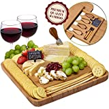 Cheese Board and Knife Set - Natural Crafted Bamboo Wood for Slicing Cheese | Hidden Drawer with Stainless Steel Cutting Knives, Slate Chalk Labels & Markers | by Weegee