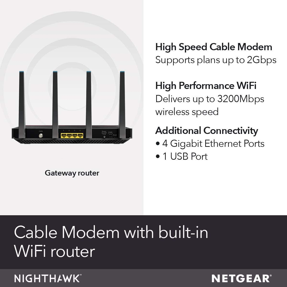 Netgear nighthawk cable modem best wifi router combo (c7800) compatible with cable providers including xfinity by comcast, cox, spectrum ac3200 wifi speed docsis 3.1