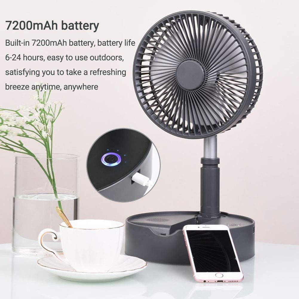 WSYK Ventilatore da Tavolo Pieghevole con Altoparlante Bluetooth Ventilatore USB Oscillante con Aromaterapia Funzione 4 velocità Upright Ventola di Raffreddamento,Rosa Gray